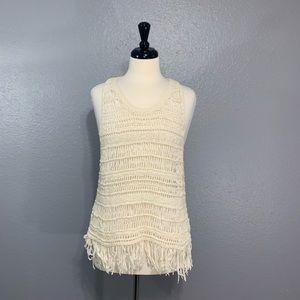 AEO | Cream Crochet Fringe Tank L